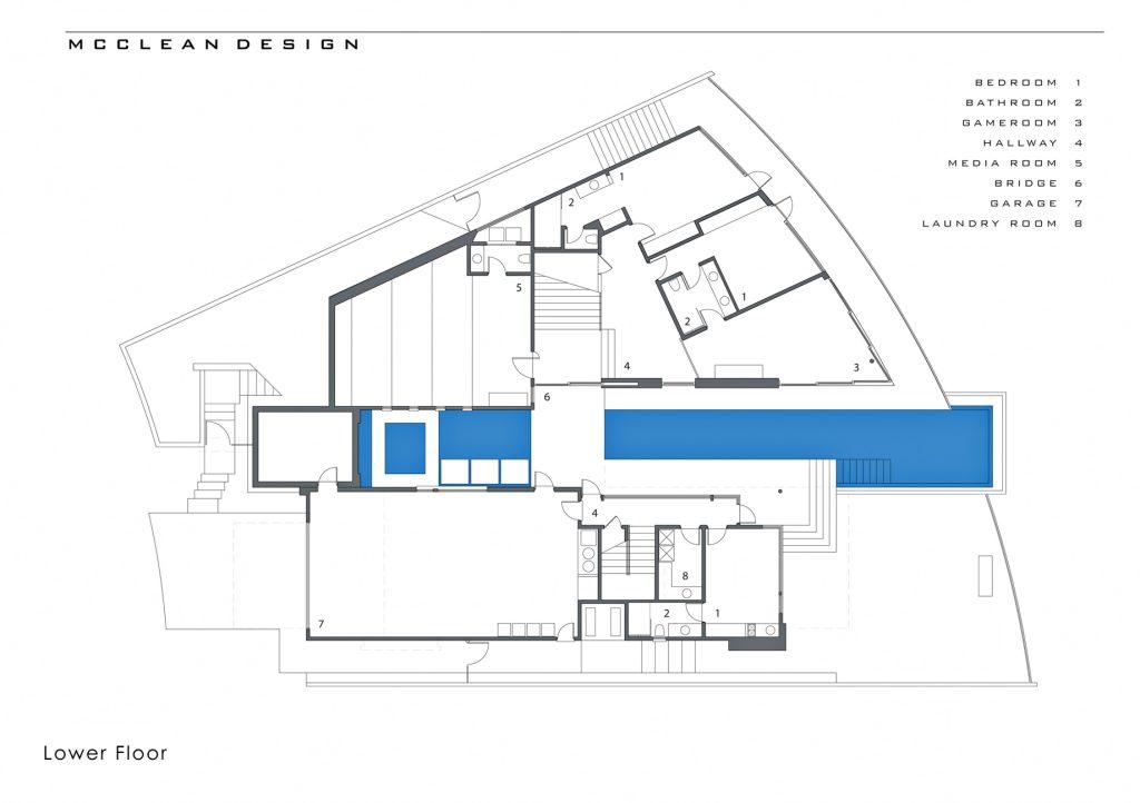 Plans d'étage - La maison hollywoodienne de DJ Avicii - 1474 Blue Jay Way, Los Angeles, CA, États-Unis