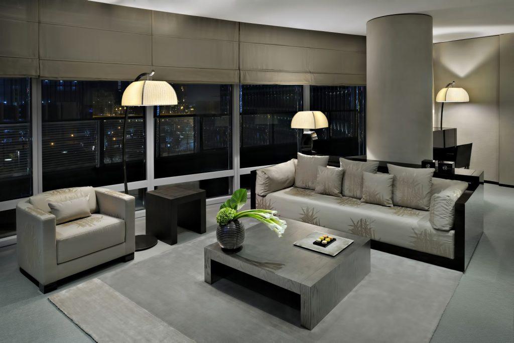 Armani Hotel Dubai - Burj Khalifa, Dubaï, Émirats arabes unis - Salle de séjour de la suite Armani