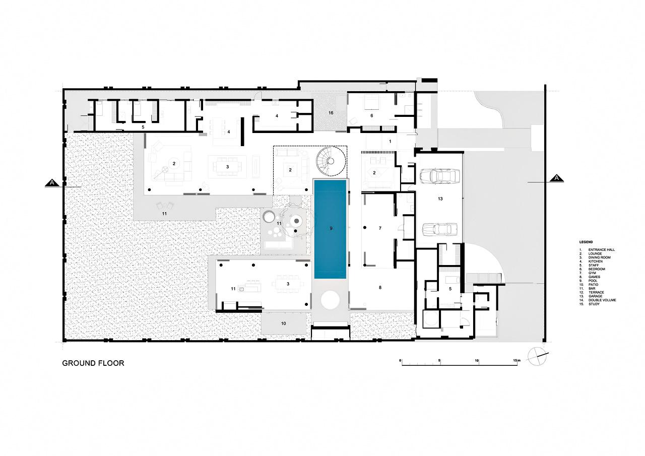 Ground Floor Plan - 6th 1448 Houghton Residence ZM - Johannesburg, Gauteng, South Africa