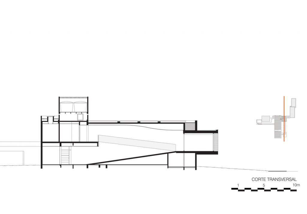 Cross Section - Floor Plans - FG Residence - Araraquara, São Paulo, Brazil