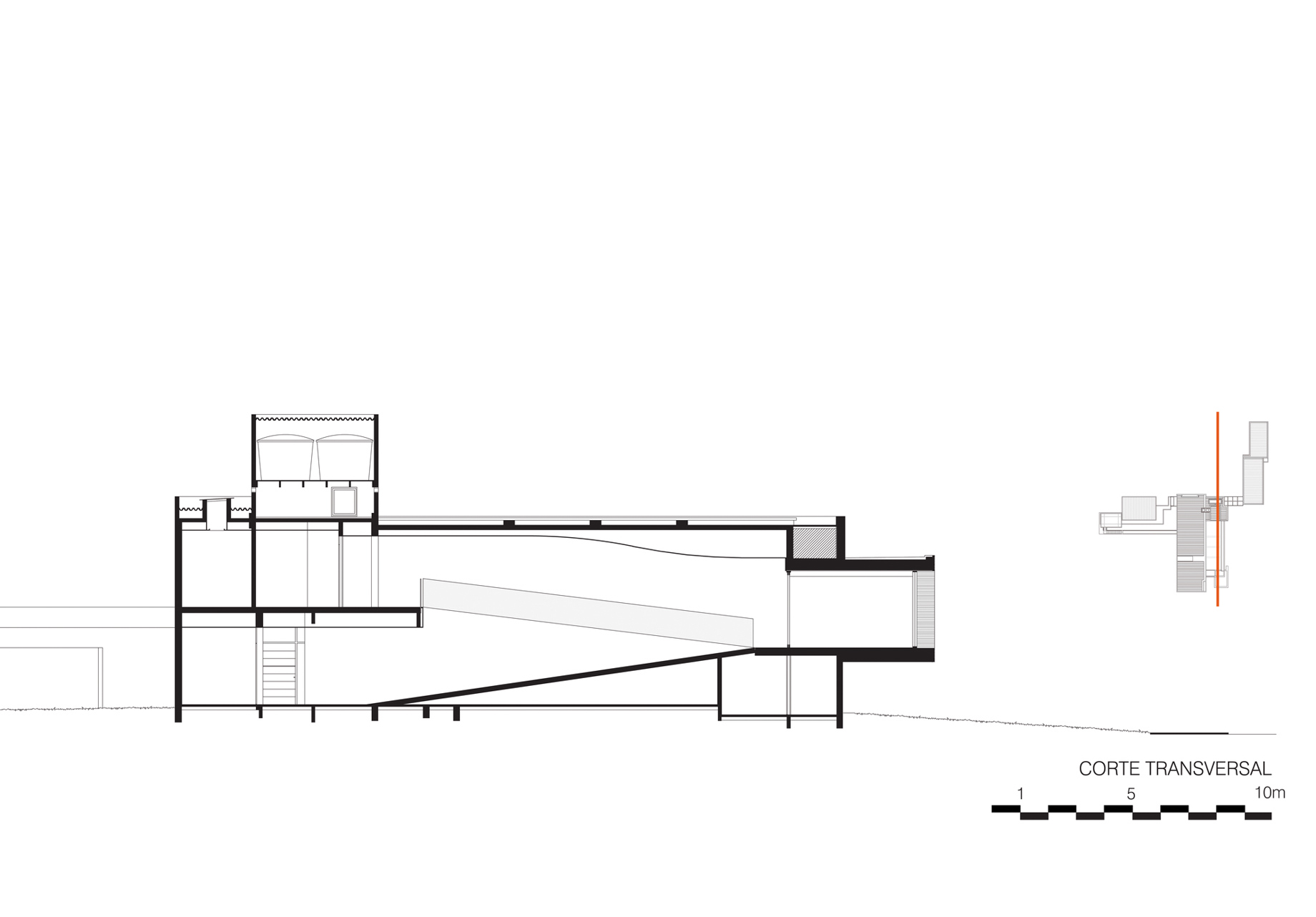 Cross Section - Floor Plans - FG Residence - Araraquara, São Paulo, Brazil