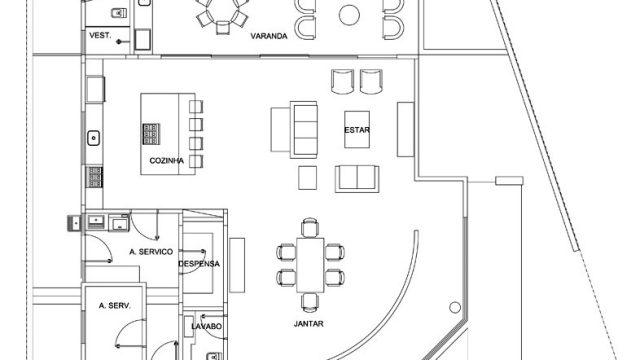 First Level - Floor Plan - Residencia NJ - Campinas, São Paulo, Brazil