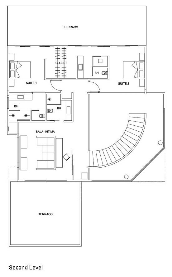 Second Level - Floor Plan - Residencia NJ - Campinas, São Paulo, Brazil