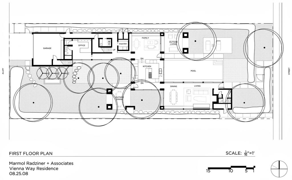 First Floor Plan - Vienna Way Residence - Venice, CA, USA