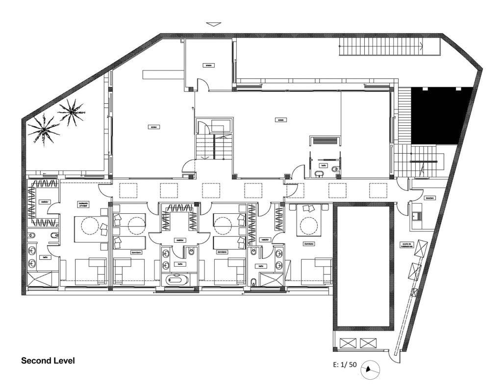 Second Level Floor Plan - Santa Cristina d'Aro Residence - Girona, Catalonia, Spain