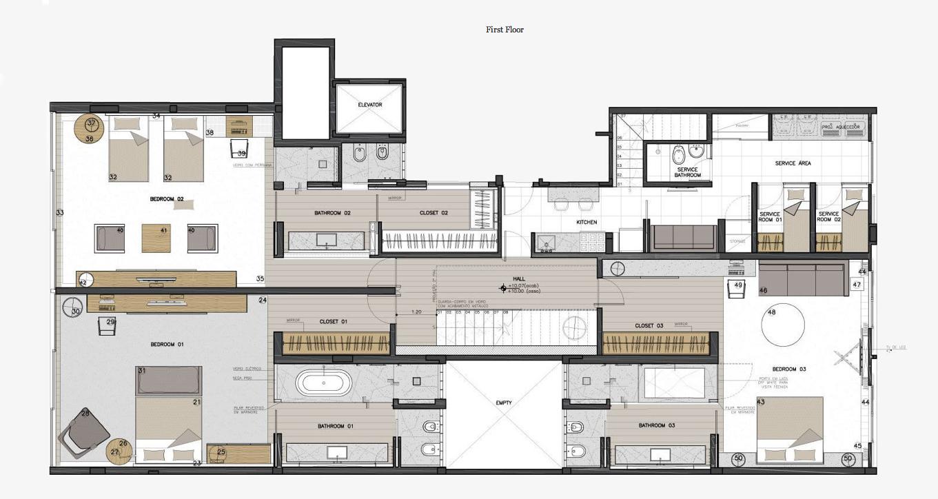First Floor Plan - Casa Urca Luxury Penthouse - Rio de Janeiro, Brazil