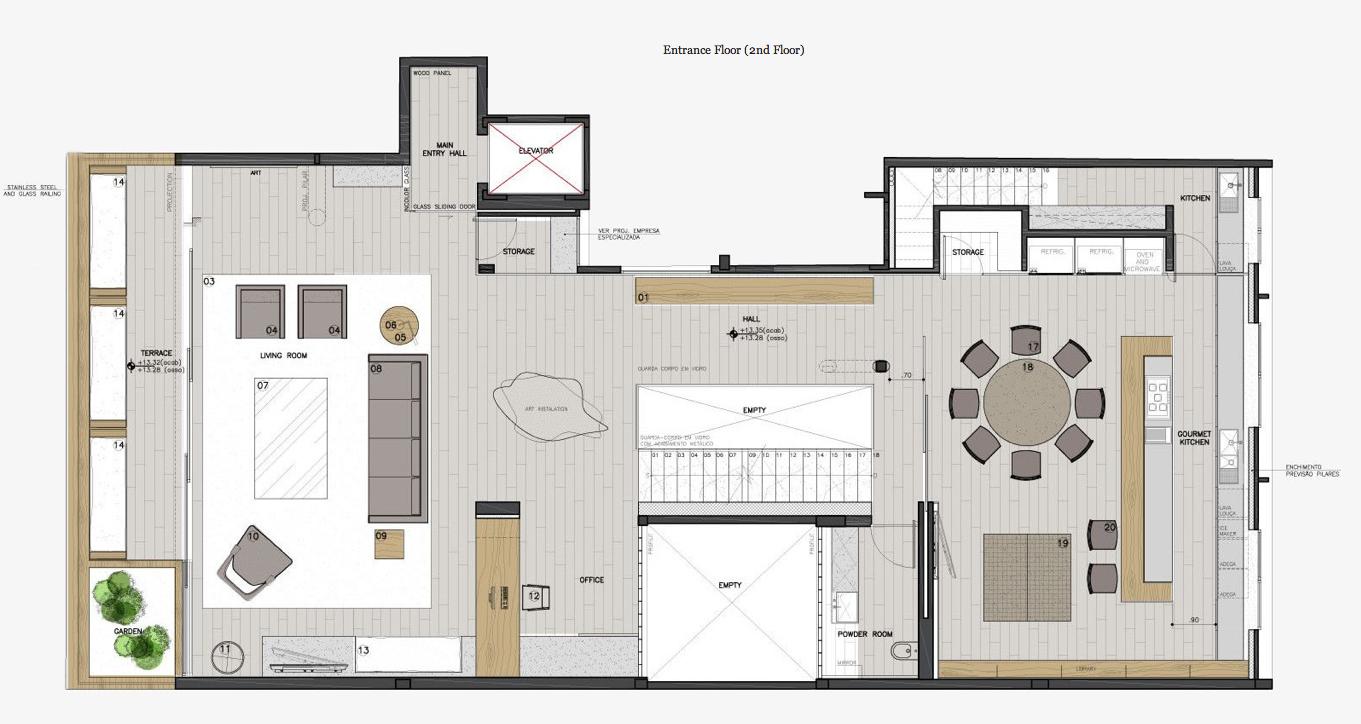 Entrance Floor Plan - Casa Urca Luxury Penthouse - Rio de Janeiro, Brazil