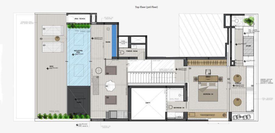 Top Floor Plan - Casa Urca Luxury Penthouse - Rio de Janeiro, Brazil