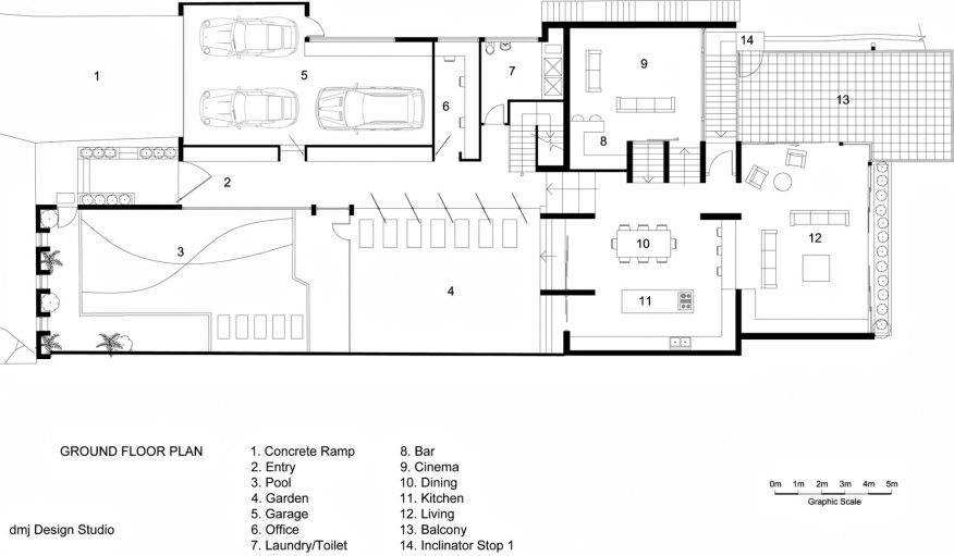 Ground Floor Plan - 36 Kangaroo Point Road Residence - Kangaroo Point, Sydney, NSW, Australia
