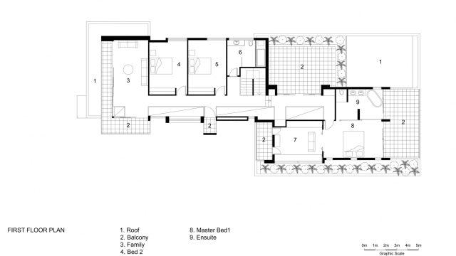First Floor Plan - 36 Kangaroo Point Road Residence - Kangaroo Point, Sydney, NSW, Australia