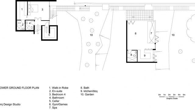 Lower Ground Floor Plan - 36 Kangaroo Point Road Residence - Kangaroo Point, Sydney, NSW, Australia