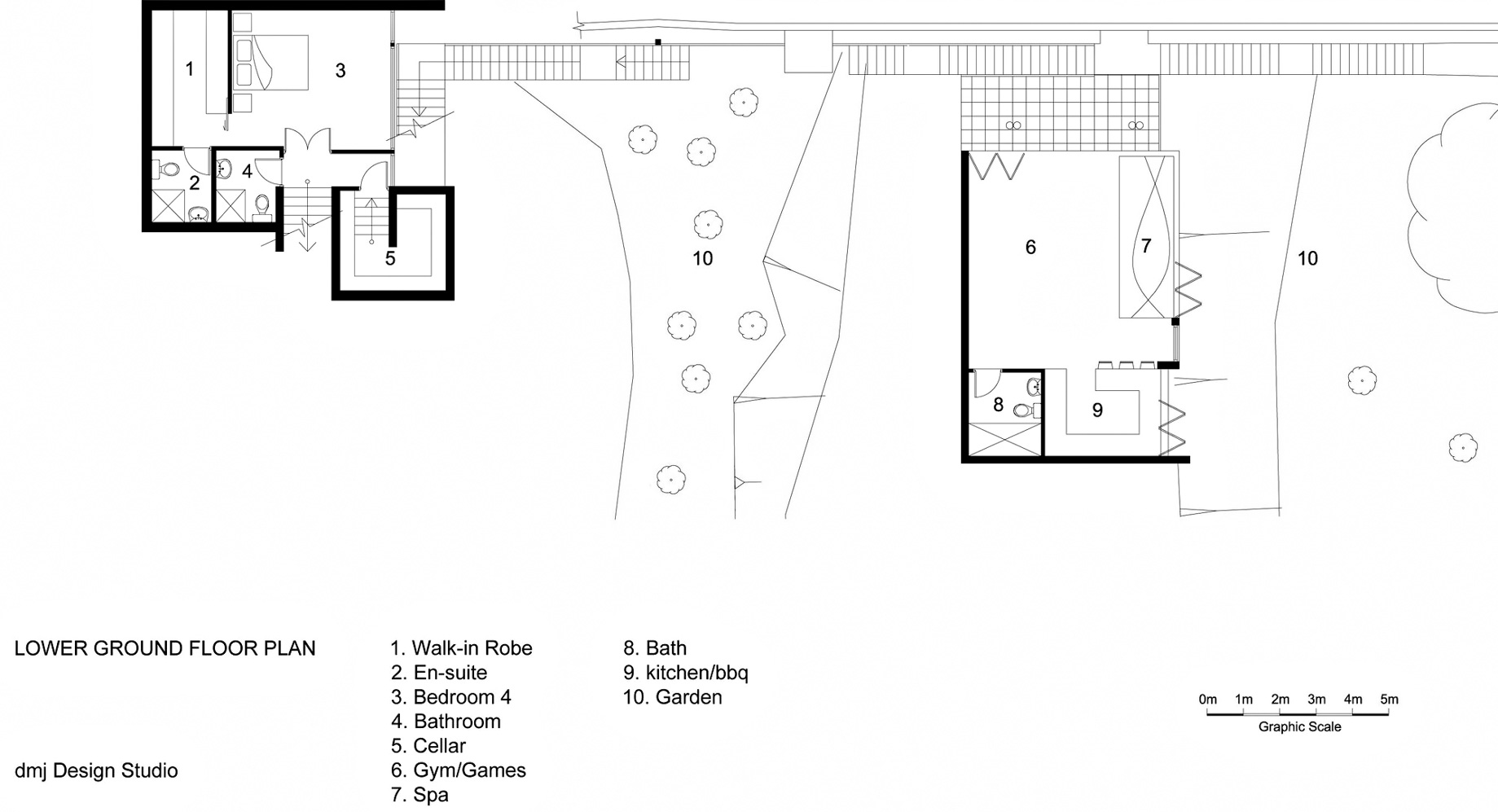 Lower Ground Floor Plan - 36 Kangaroo Point Road Residence - Kangaroo Point, Sydney, NSW, Australia
