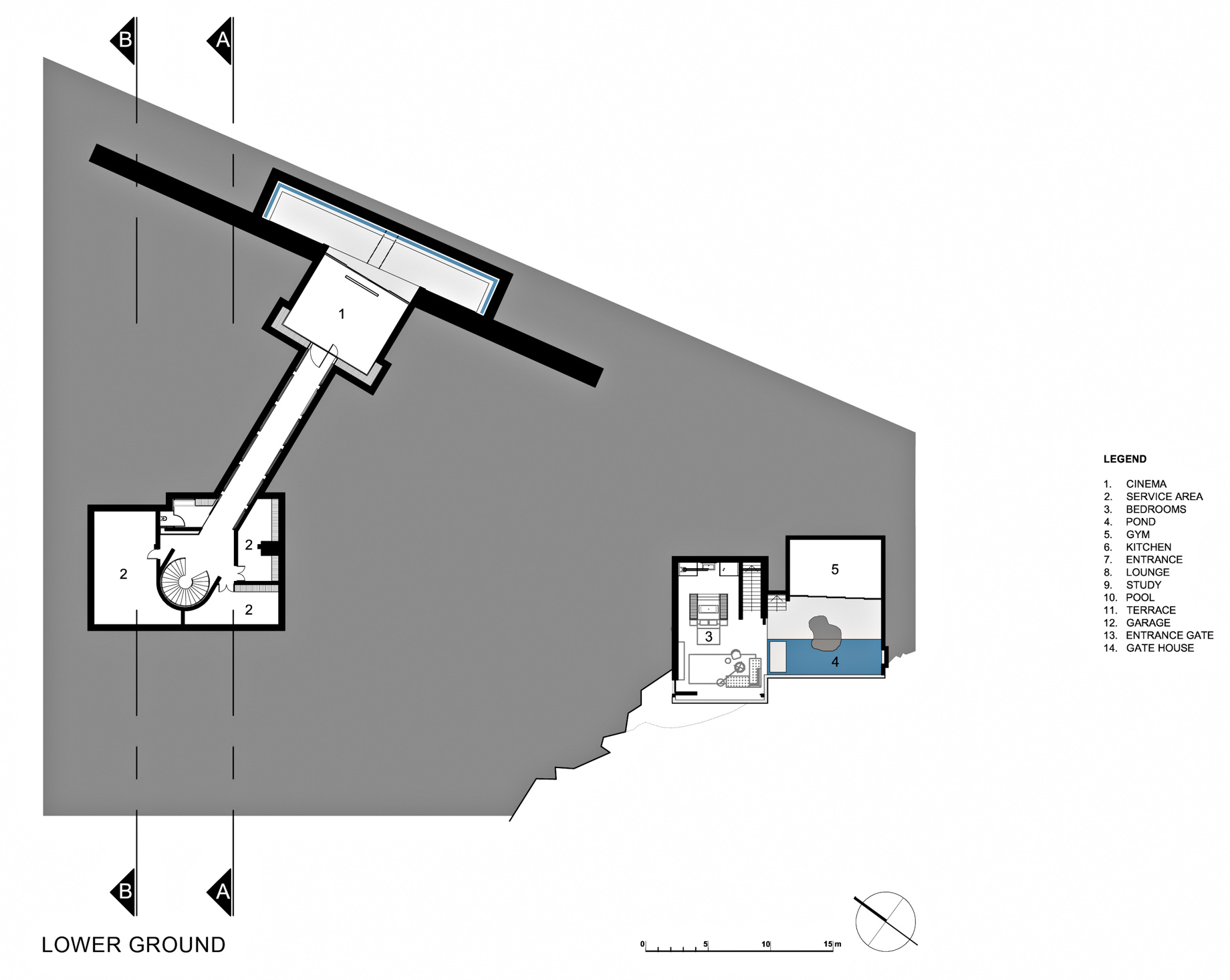 Lower Ground Floor Plan – Dakar Sow Residence – Dakar, Senegal