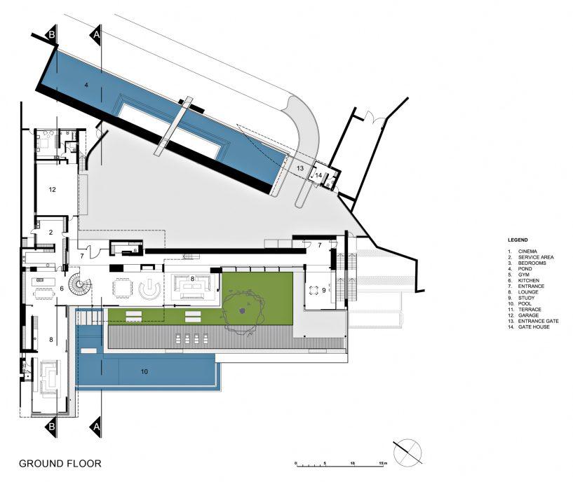 Ground Floor Plan - Dakar Sow Residence - Dakar, Senegal