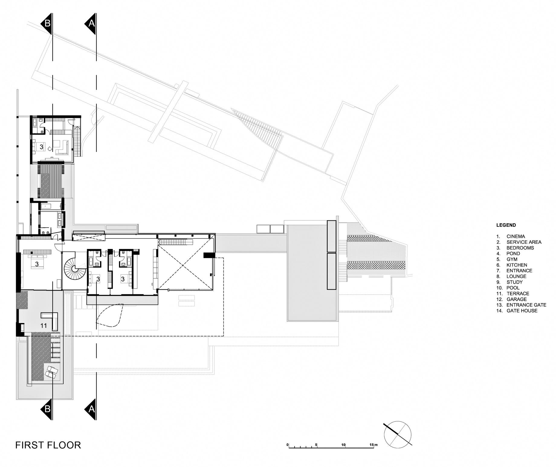 First Floor Plan – Dakar Sow Residence – Dakar, Senegal