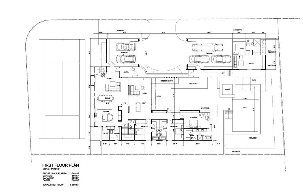 First Floor Plan - Tenaya Residence - 1640 S Tenaya Way, Las Vegas, NV, USA