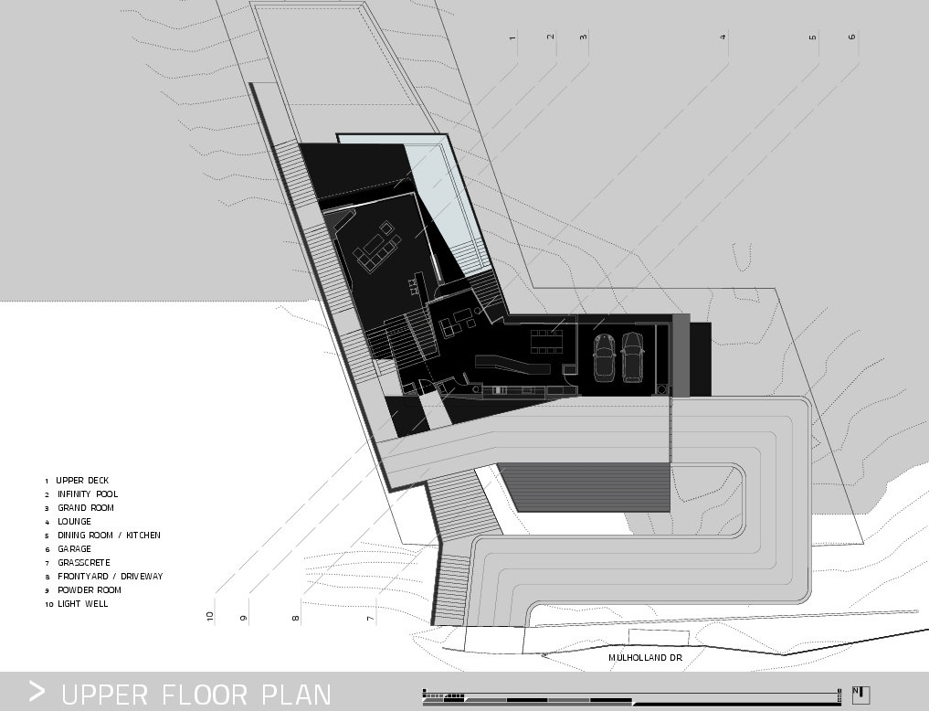 Upper Floor Plan – MUL Residence by VOID – 7691 Mulholland Drive, Los Angeles, CA, USA