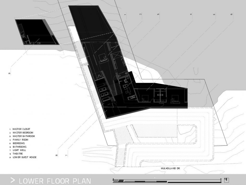 Lower Floor Plan - MUL Residence by VOID - 7691 Mulholland Drive, Los Angeles, CA, USA