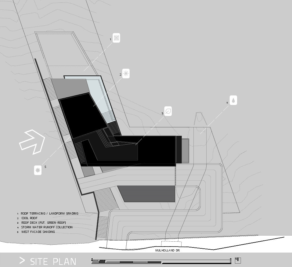 Site Plan - MUL Residence by VOID - 7691 Mulholland Drive, Los Angeles, CA, USA