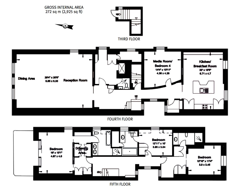 Floor Plans - Penthouse at Palace Gate - Kensington W8 - London, England, UK