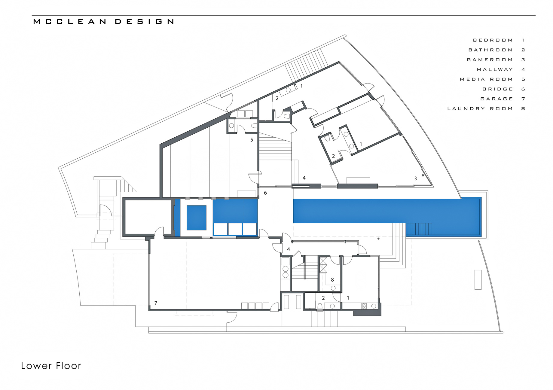 Lower Floor Plan - DJ Avicii Hollywood Home - 1474 Blue Jay Way, Los Angeles, CA, USA