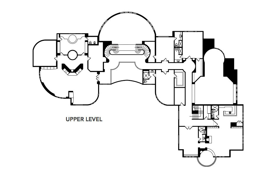 Upper Level Floor Plan - Michael Jordan's Chicago Home - Legend Point at 2700 Point Drive, Highland Park, IL, USA