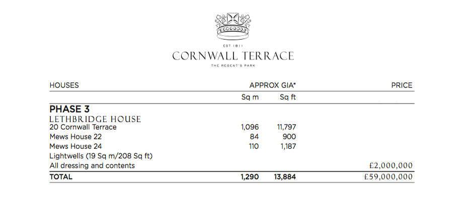 Price List - Lethbridge House - 20 Cornwall Terrace, Marylebone, London, England, UK