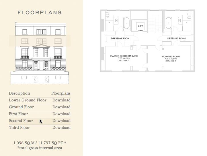 Floor Plans - Lethbridge House - 20 Cornwall Terrace, Marylebone, London, England, UK