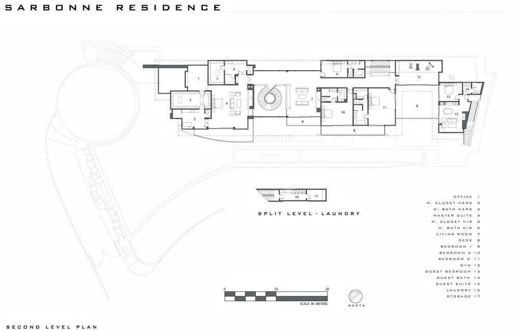 Second Level Floor Plan - Bel Air Residence - 755 Sarbonne Rd, Los Angeles, CA, USA