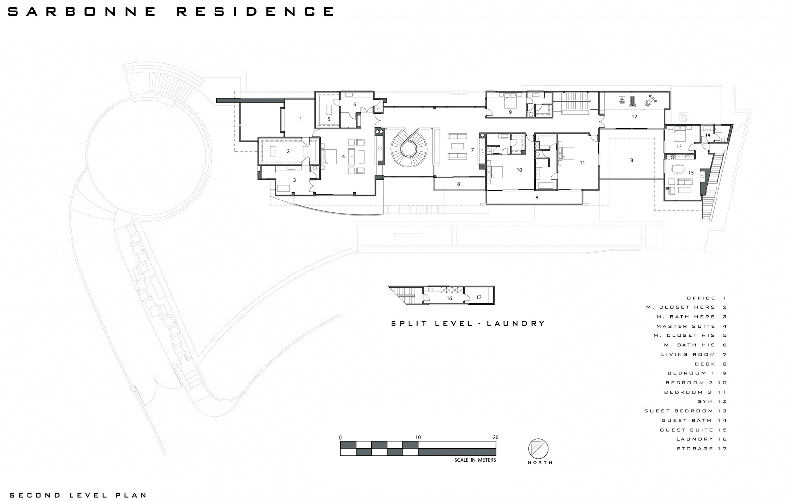 Second Level Floor Plan – Bel Air Residence – 755 Sarbonne Rd, Los Angeles, CA, USA