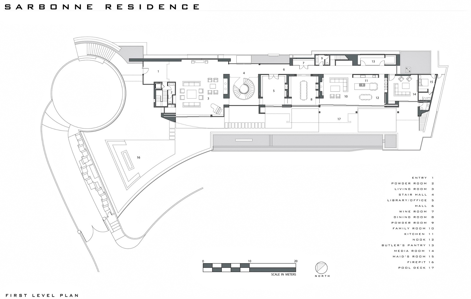 First Level Floor Plan - Bel Air Residence - 755 Sarbonne Rd, Los Angeles, CA, USA