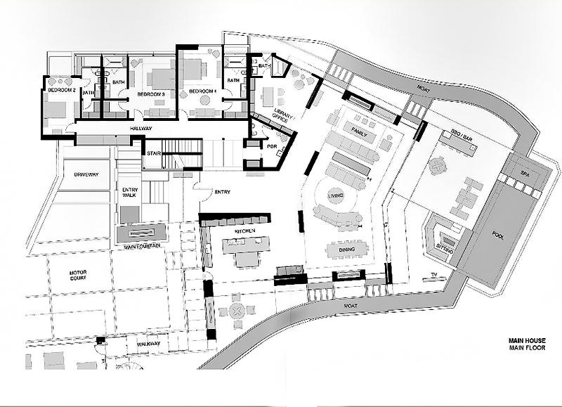 Main House - Main Floor Plan - 1201 Laurel Way Residence - Beverly Hills, CA, USA