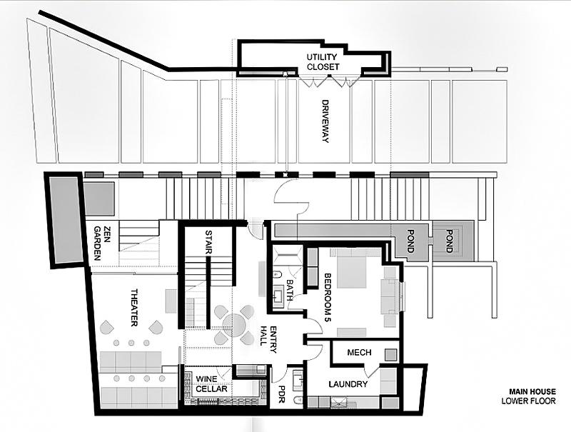 Main House - Lower Floor Plan - 1201 Laurel Way Residence - Beverly Hills, CA, USA