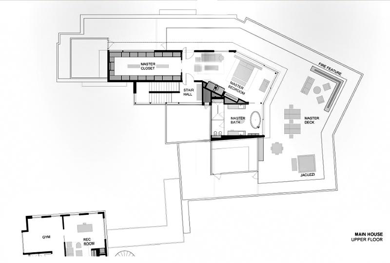 Main House - Upper Floor Plan - 1201 Laurel Way Residence - Beverly Hills, CA, USA