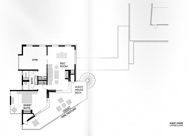 Guest House - Upper Floor Plan - 1201 Laurel Way Residence - Beverly Hills, CA, USA