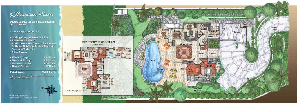 Floor Plans - Maui Beachfront Estate - 3 Kapalua Place, Lahaina, HI, USA