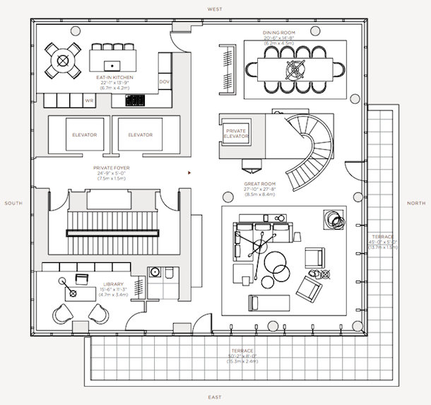 Floor Plans - Rupert Murdoch One Madison Penthouse - New York, NY, USA