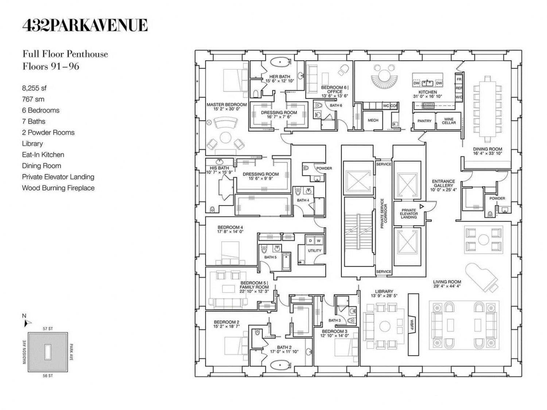 Floor Plans - PH92 Luxury Penthouse - 432 Park Avenue, New York, NY, USA