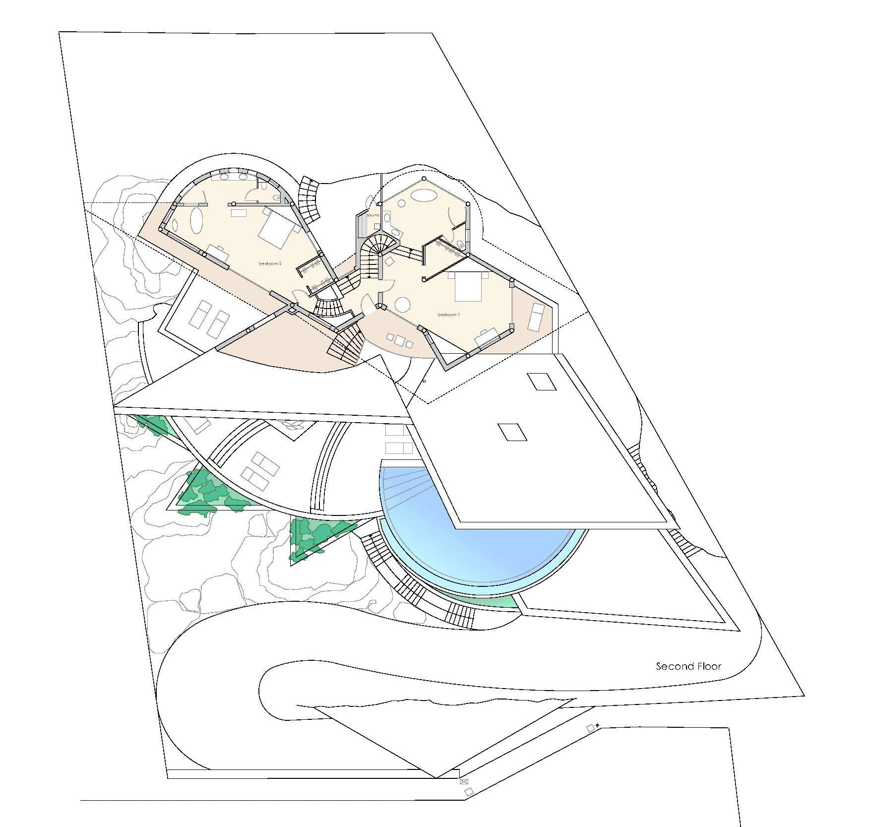 Second Floor Plan - Rockstar Villa - Cala Marmacen, Port d'Andratx, Mallorca, Balearic Islands, Spain