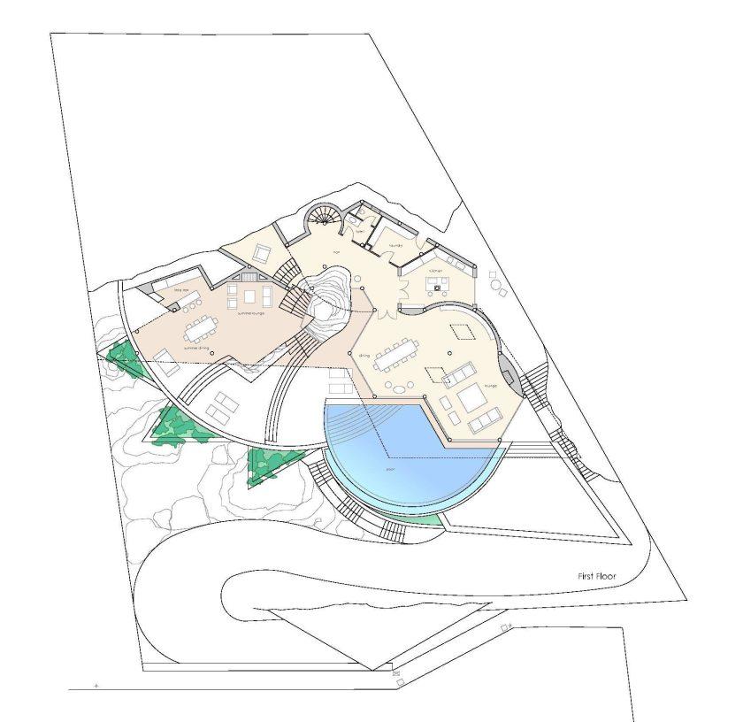 First Floor Plan - Rockstar Villa - Cala Marmacen, Port d'Andratx, Mallorca, Balearic Islands, Spain