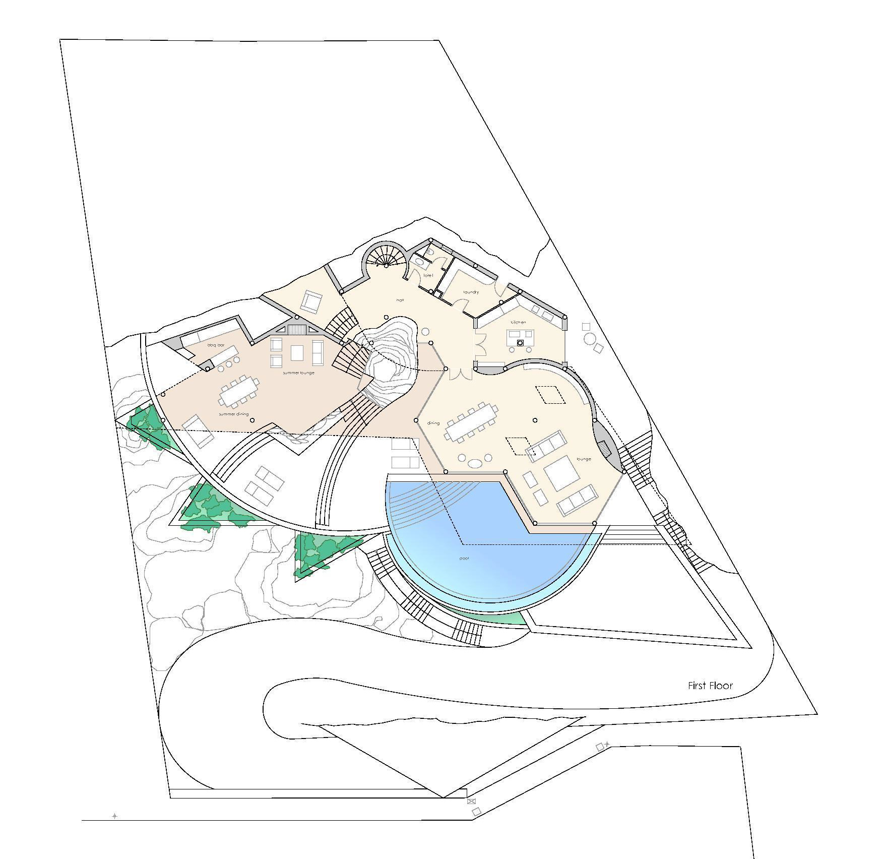 First Floor Plan - Rockstar Villa - Cala Marmacen, Port d'Andratx, Mallorca, Balearic Islands, Spain