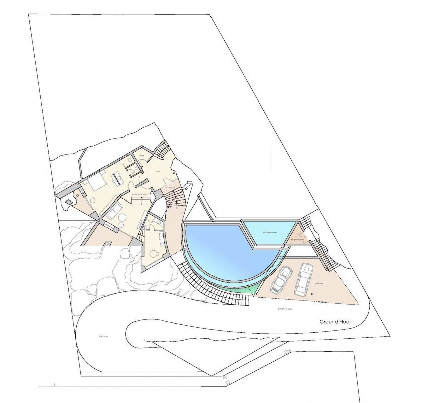 Ground Floor Plan - Rockstar Villa - Cala Marmacen, Port d'Andratx, Mallorca, Balearic Islands, Spain