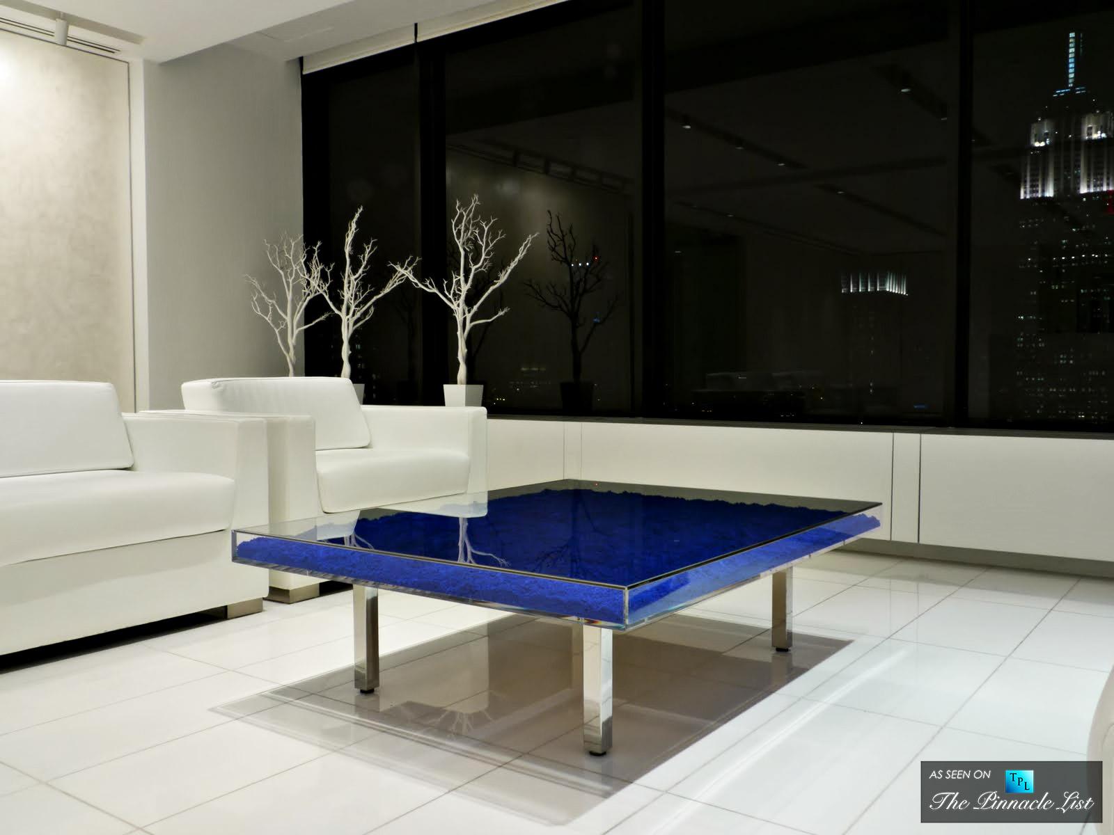Contemporary art as modern luxury furniture spotlighting for Table yves klein