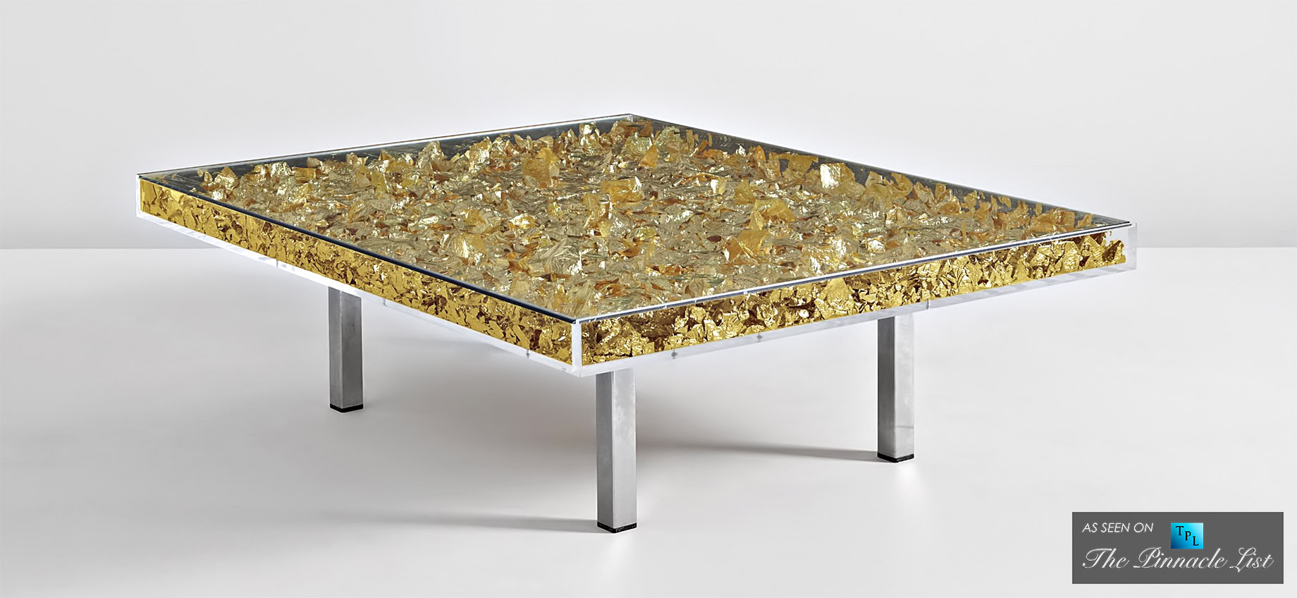 Table dor contemporary art as modern luxury furniture spotlighting the yves klein