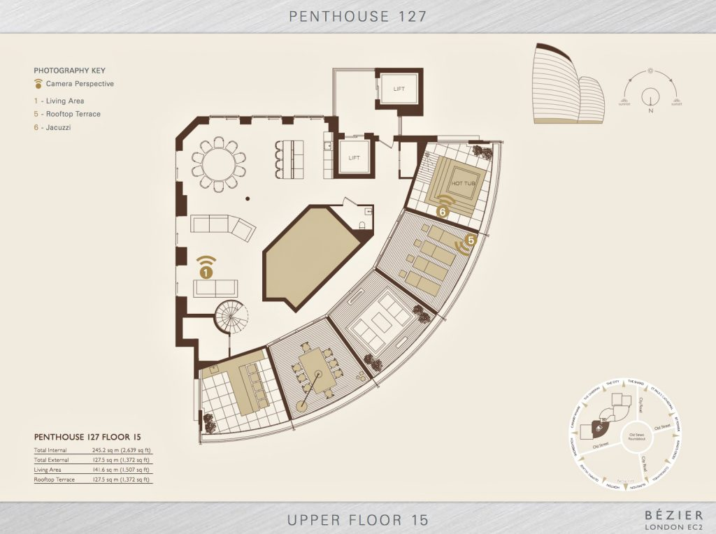 Upper Floor 15 Plan - Penthouse 127 Bezier EC2 - London, England, UK
