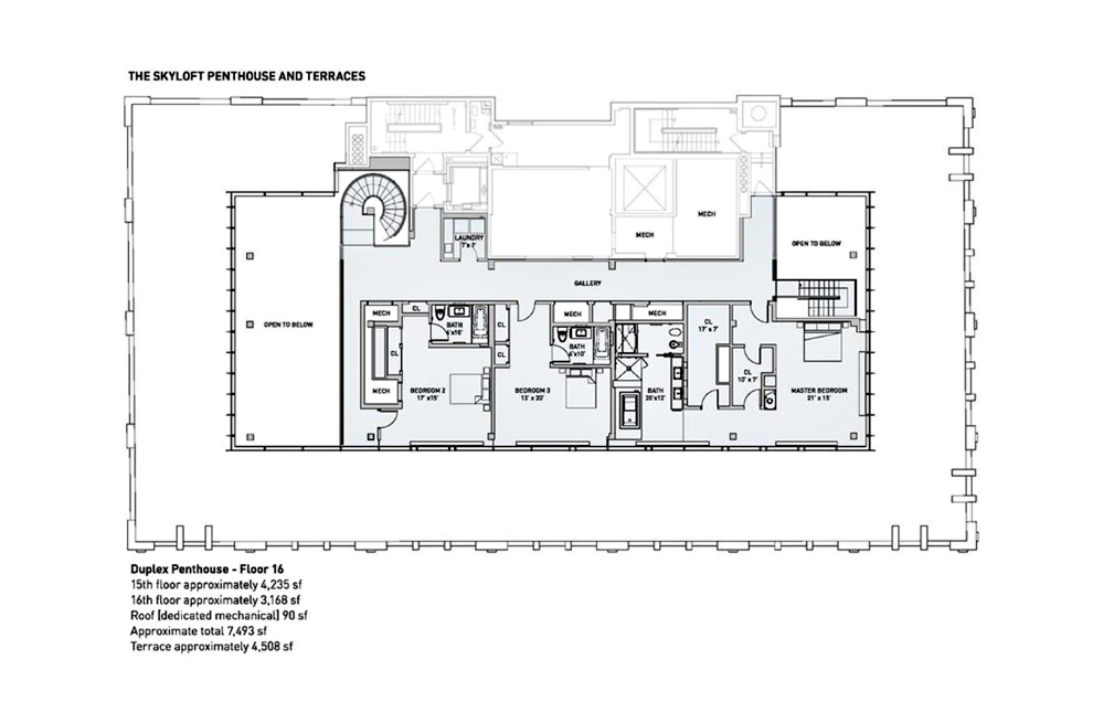 Floor Plans - Sky Lofts Glasshouse Penthouse - New York, NY, USA