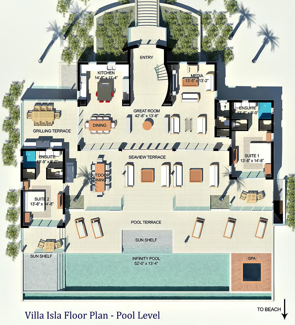 Pool Level Floor Plan - Luxury Villa Isla - Providenciales, Turks and Caicos Islands
