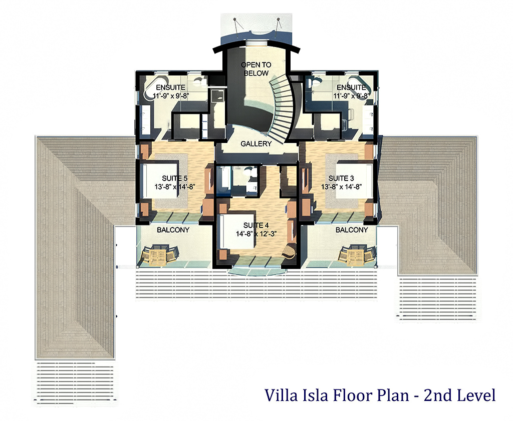 Second Level Floor Plan - Luxury Villa Isla - Providenciales, Turks and Caicos Islands
