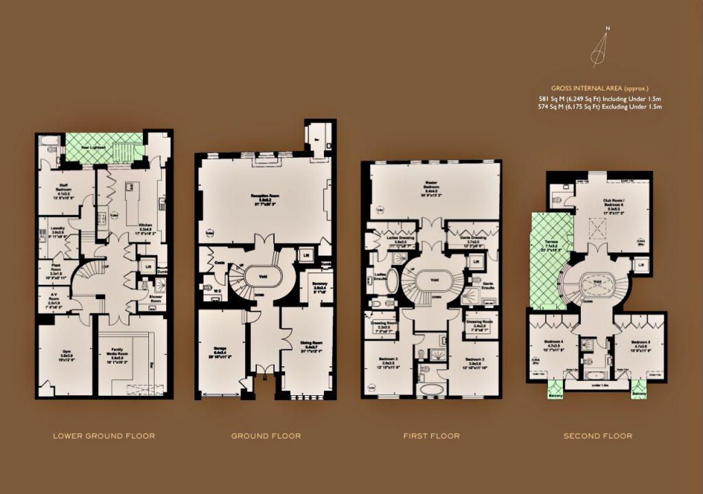 Floor Plans - Luxury Residence - 43 Reeves Mews, Mayfair, London, England, UK