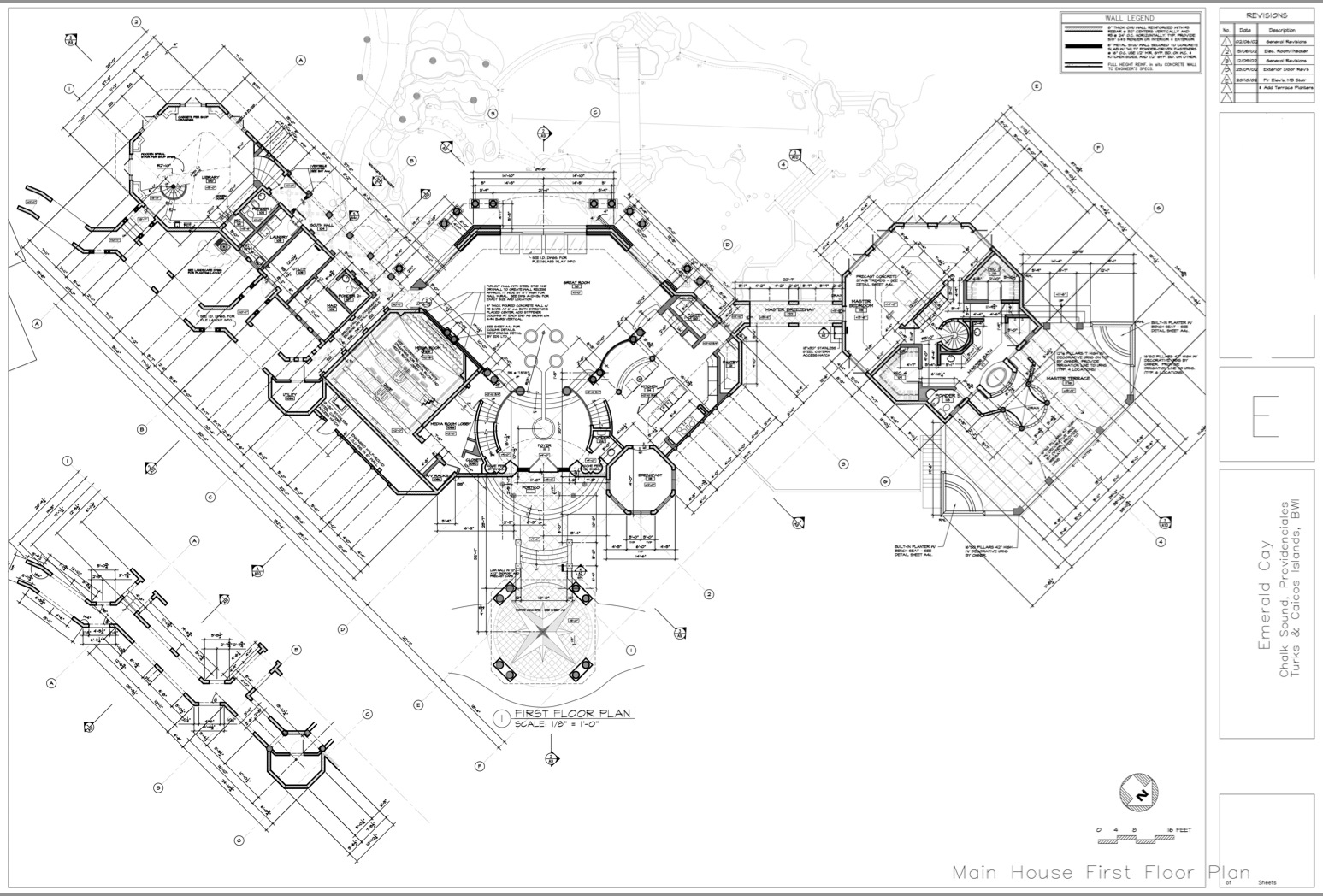 Main House Floor Plans - Emerald Cay Estate - Providenciales, Turks and Caicos Islands